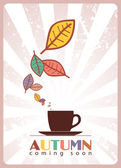 Чашка чая и листьев — Cтоковый вектор