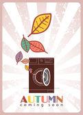 Máquina de lavar roupa e folhas — Vetorial Stock
