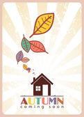 Casa y hojaslocomotief en bladeren — Vector de stock