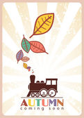 Locomotive and leafs — Stock Vector