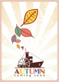 Steamship and leafs — Stock Vector