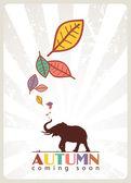 Abstraktní podzimní vektorové ilustrace s slona a listovým — Stock vektor