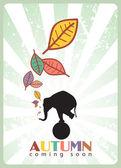 Resumen ilustración vectorial otoñal con elefante y hojas — Vector de stock