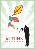 Abstract autumnal vector illustration with jazz maker and leafs — Stock Vector
