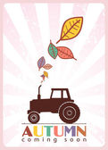 Tractor and leafs — Stock Vector