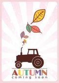 Tractor y hojas — Vector de stock