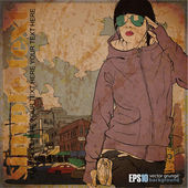 Vintage illustration with fashion girl on a street background — Stock Vector