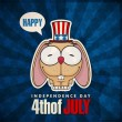Happy 4th of July sticker card with cartoon rabbit. Vector illustration. — Stock Vector