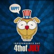 Happy 4th of July sticker card with cartoon dog. Vector illustration. — Stock Vector