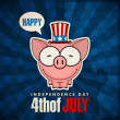 Happy 4th of July sticker card with cartoon piggy. Vector illustration. — Image vectorielle