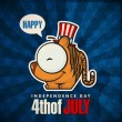 Happy 4th of July sticker card with cartoon tiger. Vector illustration. — Stock Vector
