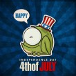 Happy 4th of July sticker card with cartoon frog. Vector illustration. — Stock Vector