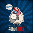 Happy 4th of July sticker card with cartoon sheep. Vector illustration. — Stock vektor