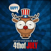 Happy 4th of July sticker card with cartoon deer. Vector illustration. — Stock Vector
