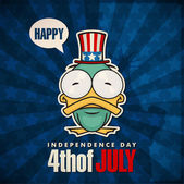 Happy 4th of July sticker card with cartoon duck. Vector illustration. — Stock Vector