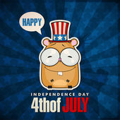 Happy 4th of July sticker card with cartoon hamster. Vector illustration. — Stock Vector