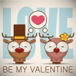 Valentine's day greeting card with cartoon deer characters. — Imagen vectorial