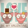 Valentine's day greeting card with cartoon piggy characters. — Stockvektor