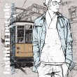Stylish guy and old tram — Stock Vector