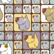 Seamless texture with funny cartoon dogs. — Imagen vectorial