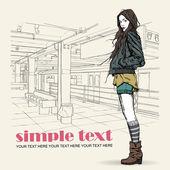Güzel genç kız kroki tarzı bir metro istasyonu. — Stok Vektör
