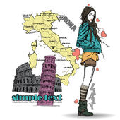 Girl on a italian background. — Stock Vector
