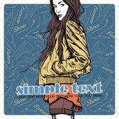Girl in sketch-style on a footwear background — 图库矢量图片