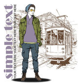 EPS10 vector illustration of a young stylish guy and old tram. — Stock Vector