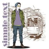 Eps10 vectorillustratie van een stijlvolle jonge kerel en oude tram. — Stockvector