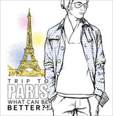 Stylish guy on a eiffel tower background. — Stock Vector
