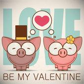 Walentynki kartkę z życzeniami z kreskówek świnka. — Wektor stockowy