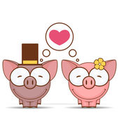 Valentine's day greeting card with cartoon piggy characters. — Stock Vector