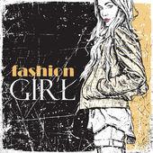 Ilustração em vetor vintage de menina linda moda. — Vetorial Stock
