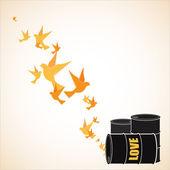 Ilustración vectorial abstracto de barriles y aves. — Vector de stock