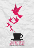 Abstract vector illustration of tea cup and birds. — Stock Vector
