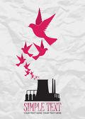Ilustração em vetor abstrato de fábrica e aves. — Vetorial Stock