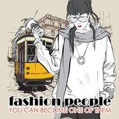 векторная иллюстрация красивая девушка моды и старый трамвай. — Cтоковый вектор