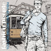 Vektorové ilustrace stylový mladíka a historické tramvaje — Stock vektor