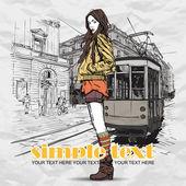 Moda güzel kız ve eski tramvay vektör çizimi. — Stok Vektör
