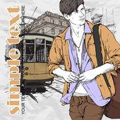 Vectorillustratie van een stijlvolle jonge kerel en oude tram — Stockvector