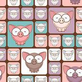Seamless texture con maiali divertenti cartoon. — Vettoriale Stock