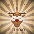 Happy birthday greeting card with funny cartoon deer. — Stock Vector