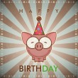 Happy birthday greeting card with funny cartoon pig. — Stock Vector
