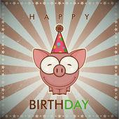 Alles Gute zum Geburtstag-Grußkarten mit lustigen Cartoon Schwein. — Stockvektor