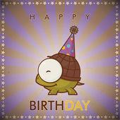 Happy birthday greeting card with funny cartoon turtle. — Stockvektor