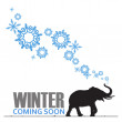Abstract vector illustration of elephant and snowflakes. — Stock Vector