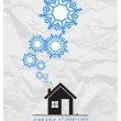 Stock Vector: Abstract vector illustration of house and snowflakes.