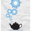 Abstract vector illustration of teapot and snowflakes. — Stock Vector