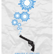 Abstract vector illustration of revolver and snowflakes. — Stock Vector #33135397