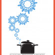 Abstract vector illustration of pan and snowflakes. — Stock Vector